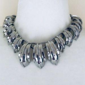 Anne Klein Modern Silver-Tone Heavy Metal Necklace